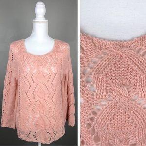 Ya Los Angeles Oversized Boho Crochet Sweater Pink